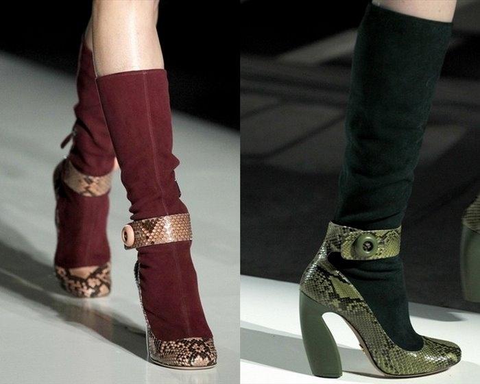 ...зима 2011. мода зима 2012. сапоги. prada. блестящий атлас. каблуки.