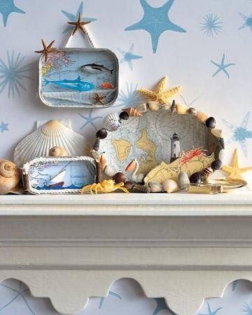 желательно рифмовать морские ракушки с другим объектом интерьера.  Красивые инсталляции в морском стиле.