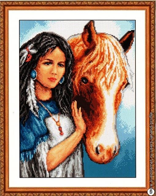 Девушка и конь.  Вышивка крестом, схемы.  СХЕМА.