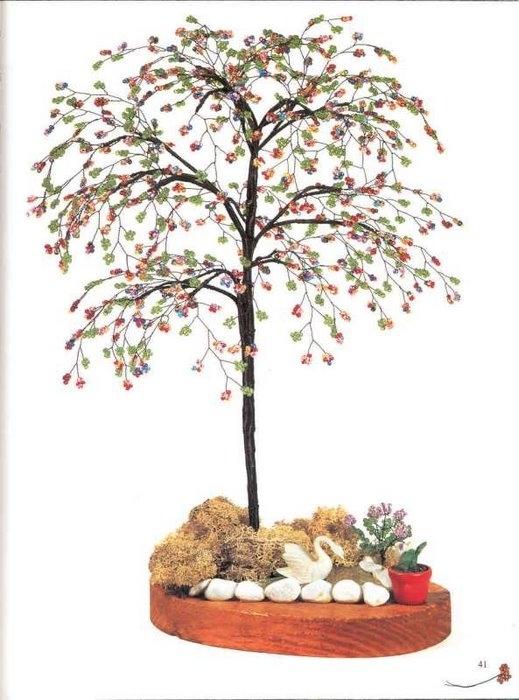 поделки из бисера деревья схемы для начинающих. кактус из бисера мк.