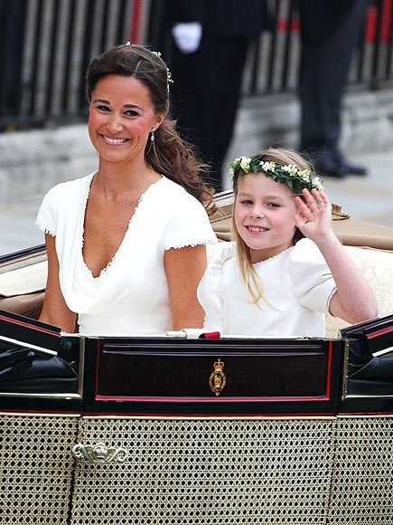 LONDON, ENGLAND - APRIL 29:  Sister of the Bride and Maid of Honour Pippa Middleton and bridesmaid Margarita Armstrong-Jones depart the Royal Wedding of Prince William to Catherine Middleton at Westminster Abbey on April 29, 2011 in London, England. The m