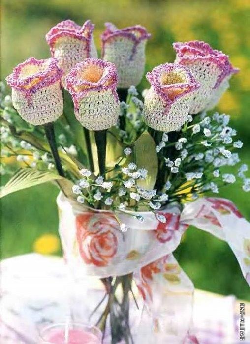 Вязанные цветы своими руками фото