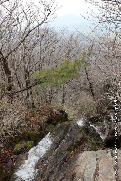 После небольшого крутого подъема открылся небольшой водопадик, который исчезал где-то внизу, видимо, падая с довольно большой высоты.
