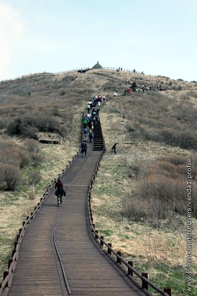 А удобная деревянная дорожка ведет на главную вершину. Сходить в сторону с этой дорожки строго запрещается.