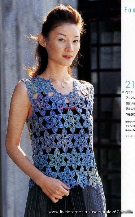 жилет крючком схемы из японских журналов.