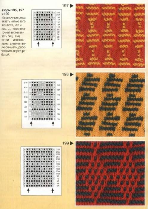 Вязание спицами узора букле двухцветное Схема вязания спицами узора букле.