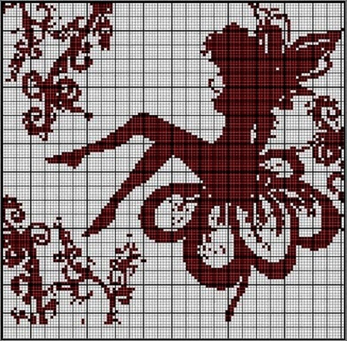 Схема филейного вязания.