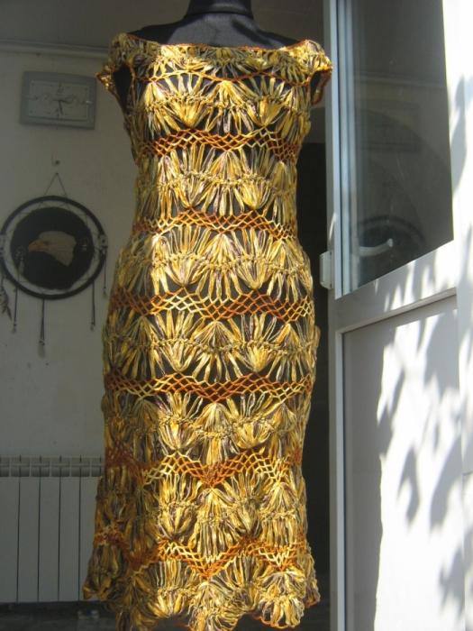 """Платье """"золотая осень""""вязаное на вилке"""