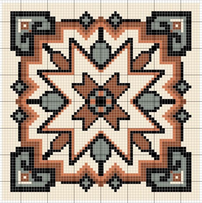 Схемы для вышивки крестом для подушек 40x40 орнаменты 11