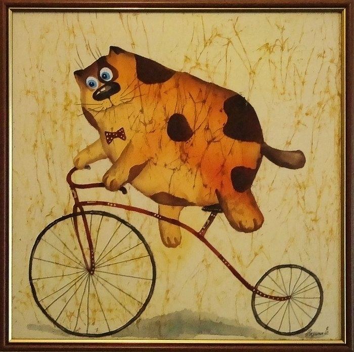"""Схема вышивки  """"Кот на велосипеде """": предпросмотр."""