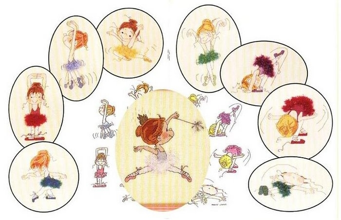 схема вышивки балерины.