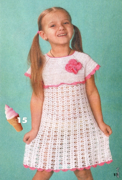 Описание платьица Вязание для детей - Ажурное платье с бабочкой Источник: kruchcom.ru.  Просмотров: 120.
