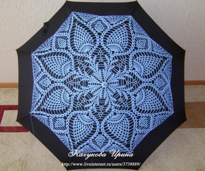 Начало работы. Примеряем вязаное полотно на зонт -трость. Прикалываем иголочками.