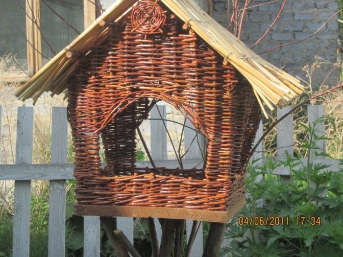 Плетеный домик для птиц своими руками 24