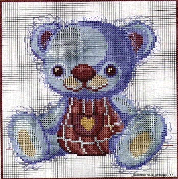 """Схемы вышивки крестом  """"Мишка Тедди """" помогает заблаговременно спланировать направление, в каком будет длиться..."""