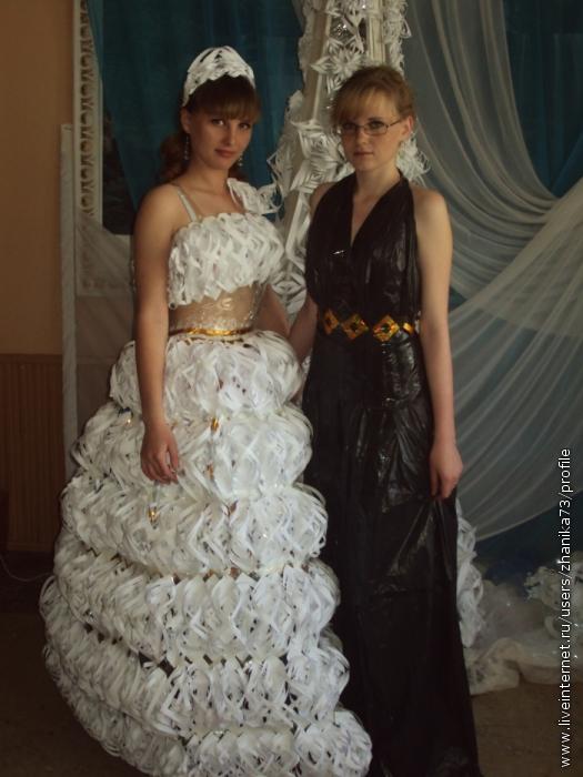 Фото платья из пакетов своими руками
