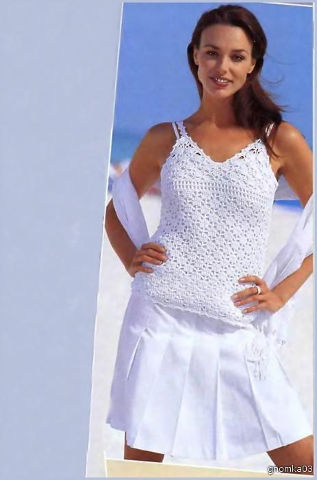 Вязание крючком летние маечки и блузы со схемами.