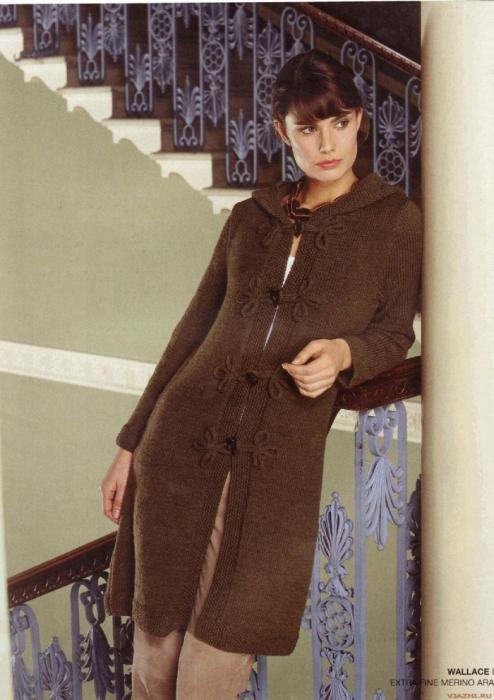 Модели вязания на спицах кардиганов пальто