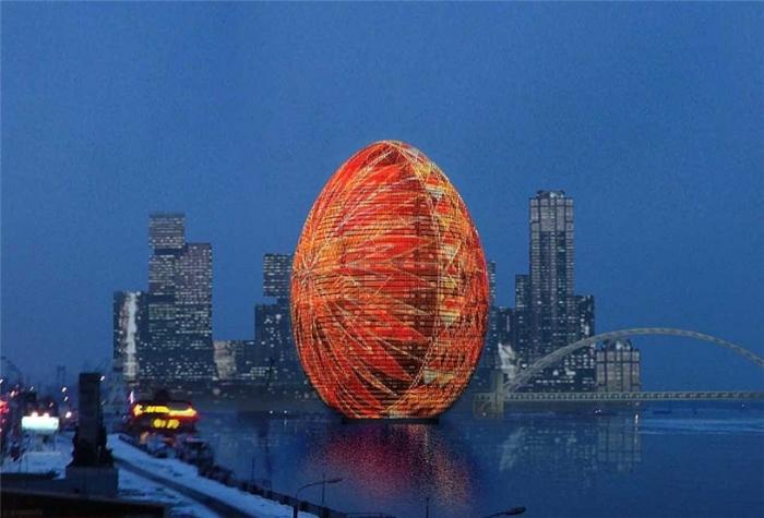 Киев: 44-этажное пасхальное яйцо