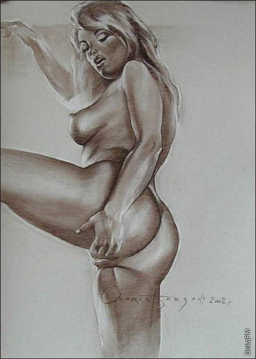 Рисованная эротика 63 рисунок молодой обнаженной женщины пальцами раздвугаю