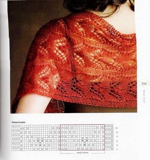схемы вязания спицами шарфов хомутов в два оборота - Только схемы.