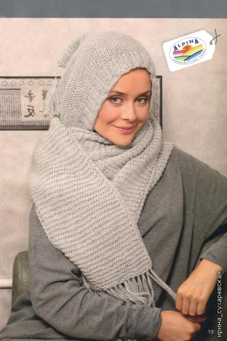 Описание: Вязаный шарф-капюшон Вязание спицами.