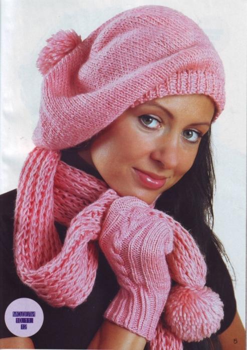 Берет, шарф и варежки спицами.  Модель Ш22.