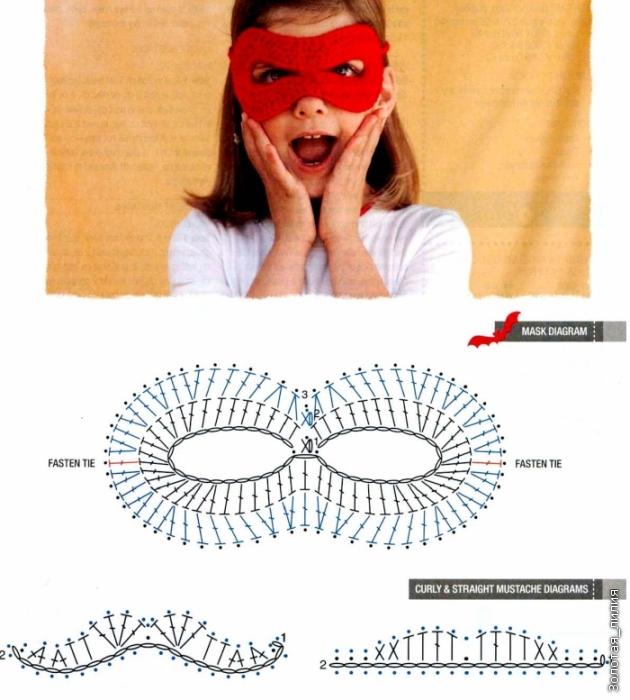 Карнавальная маска крючком.