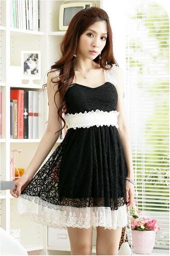 оптом чёрное шнурок платье без рукава оборки.
