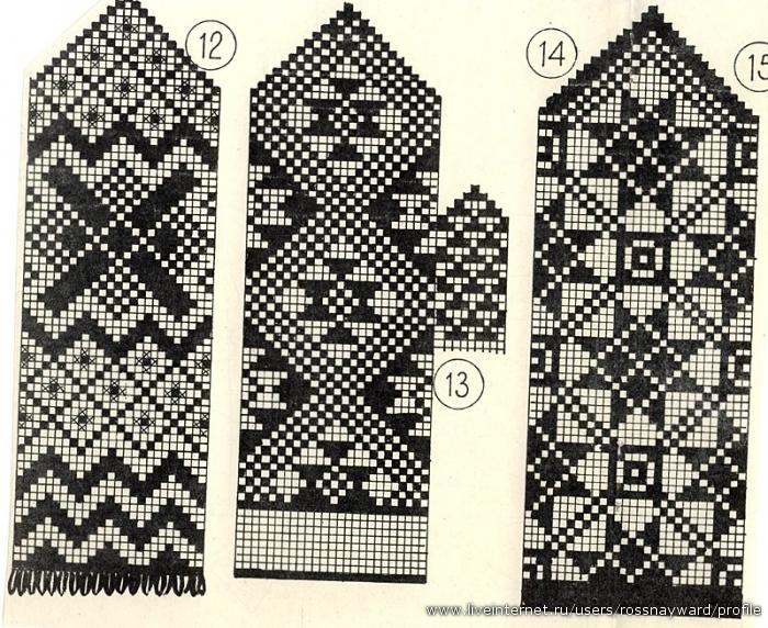 Часть 36 - Узоры для вязания варежек.  Вязаная салфетка.  Выкройки для вязанных моделей.