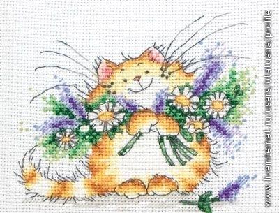 """Кот с букетом цветов """""""