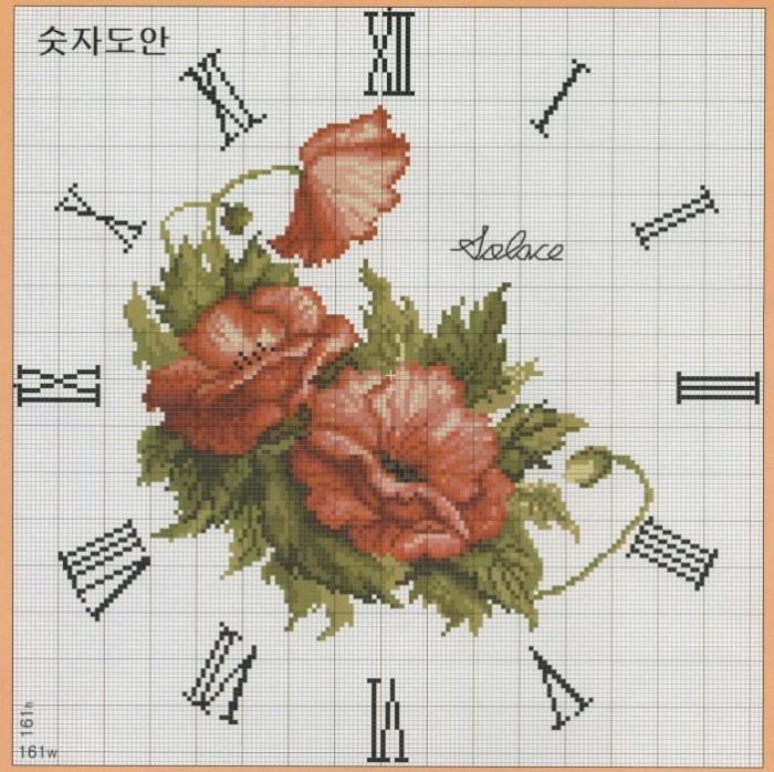 Схема по вышивке для часов
