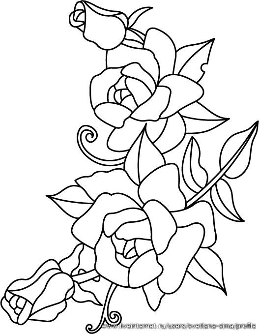 Трафареты цветов, различных декоративных растений: розы, тюльпаны, маки, шиповник, подсолнухи и другие.