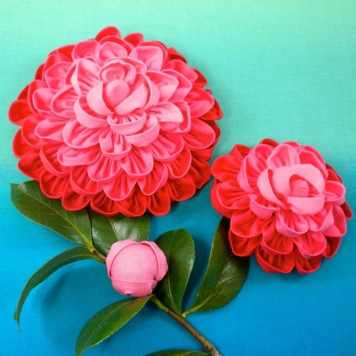 Объемные цветы ткани своими руками 64