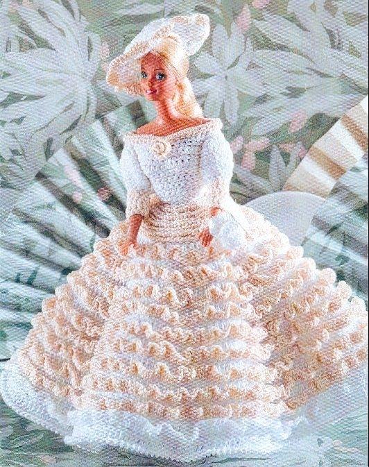 10 потрясающе красивых нарядов для куклы Барби, связанных крючком.  Схемы по вязанию...  Vestiditos a ganchillo 2...