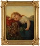 Undeutlich signiert Datiert 1866 Eingeschlafen