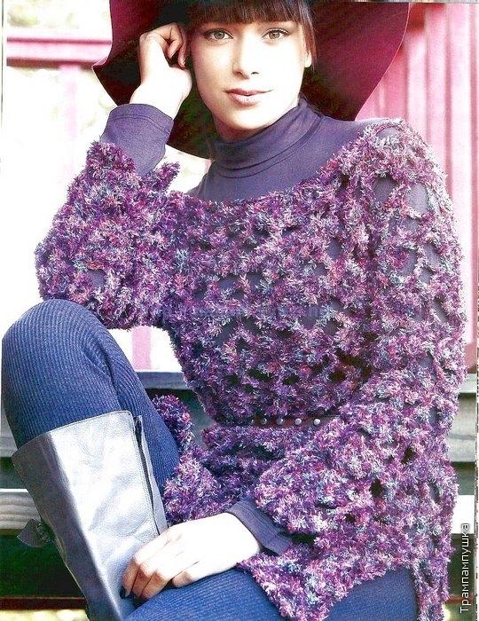 Нарядный свитер из меланжевой фантазийной пряжи крючком.