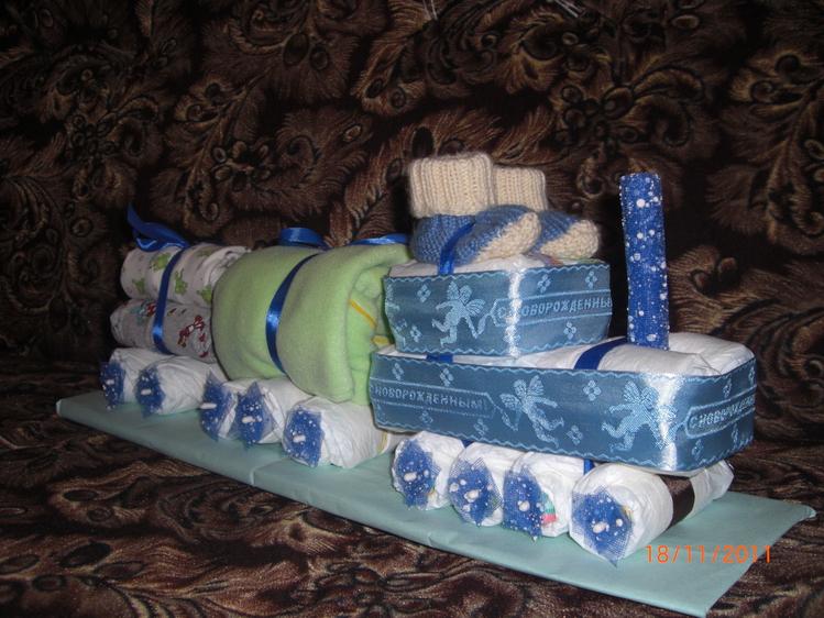 Фото паровоз из памперсов своими руками пошагово