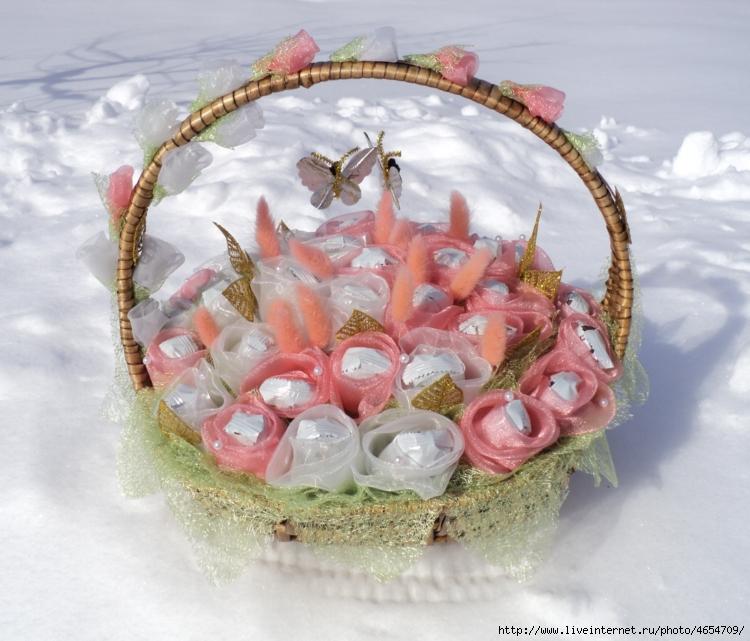 Как из конфет сделать красивую корзинку