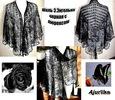 Рубрики: Разное.  Шаль по дизайну Эриха Энгельна черная с серебристым люрексом.  Нарядная вечерняя шаль.