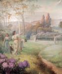 Costa DOMINGOS Femmes dans un jardin Huile sur toile sign?e et dat?e en bas ? droite 1919
