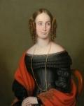 English School 19th Century Lady with a Red Shawl