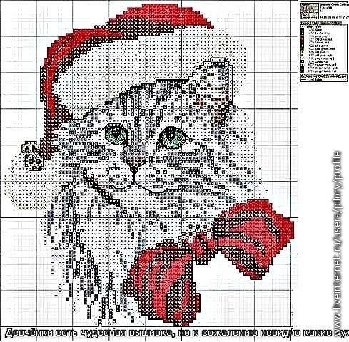 Схема вышивки Новогодний кот