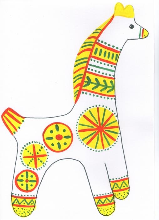 Нарисовать филимоновские игрушки поэтапно