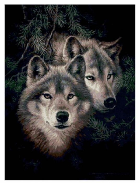 """""""Волки""""-2) Схема вышивки."""