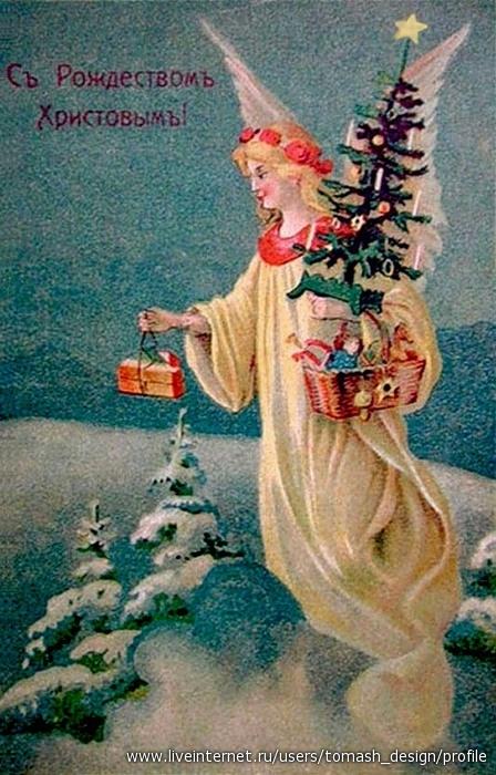 Ангелы на рождественских открытках