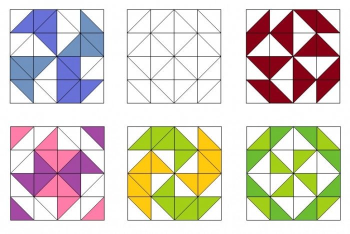 Схемы пэчворка квадраты и треугольники
