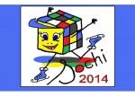 Сочик. В гранях кубика используются все 5 основных цветов Олимпиады. Автор: Елена Сайфулина.