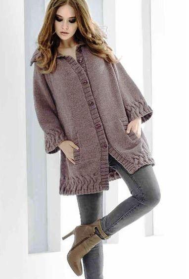 вязание спицами женских пальто.