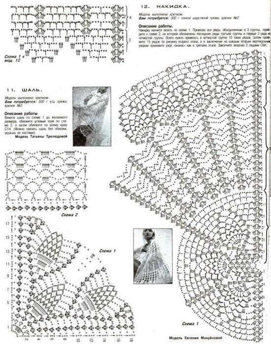 Вязание крючком палантины накидки шали и схемы
